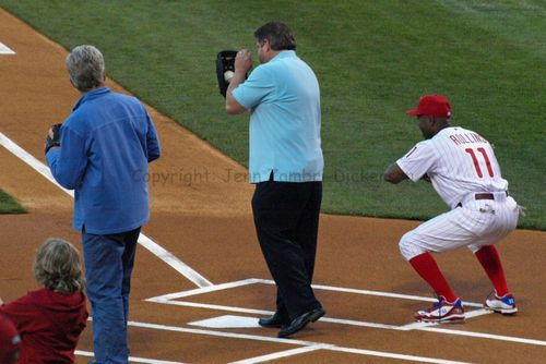First pitch caught by Mike Schmidt, John Kruk & Jimmy Rollins