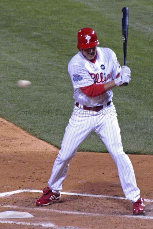 Chase Utley almost hit with a pitch